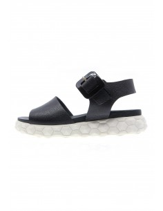 Surreal black buckle sandals