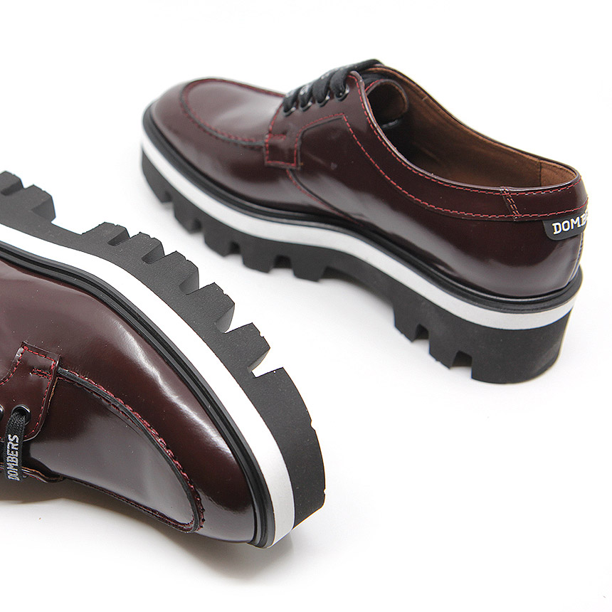 Burgundy track sole leather shoe for women - Genuine