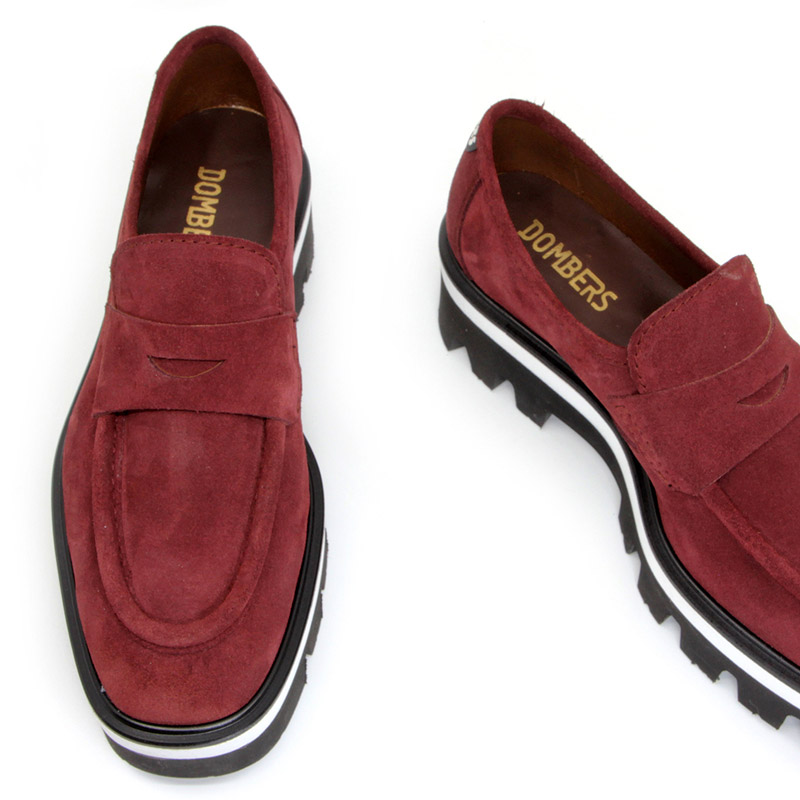 Women's burgundy suede platform loafers - Imaginary