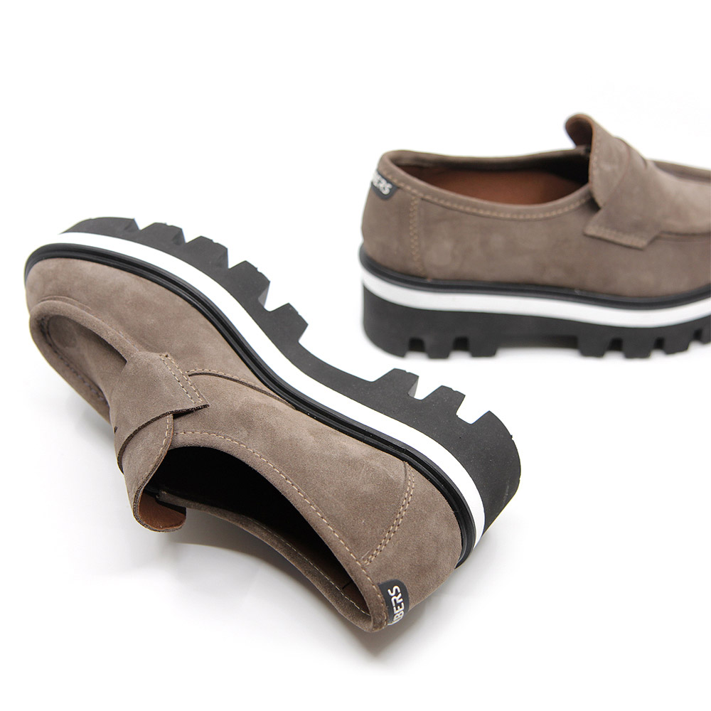 Women's gray suede platform loafers.