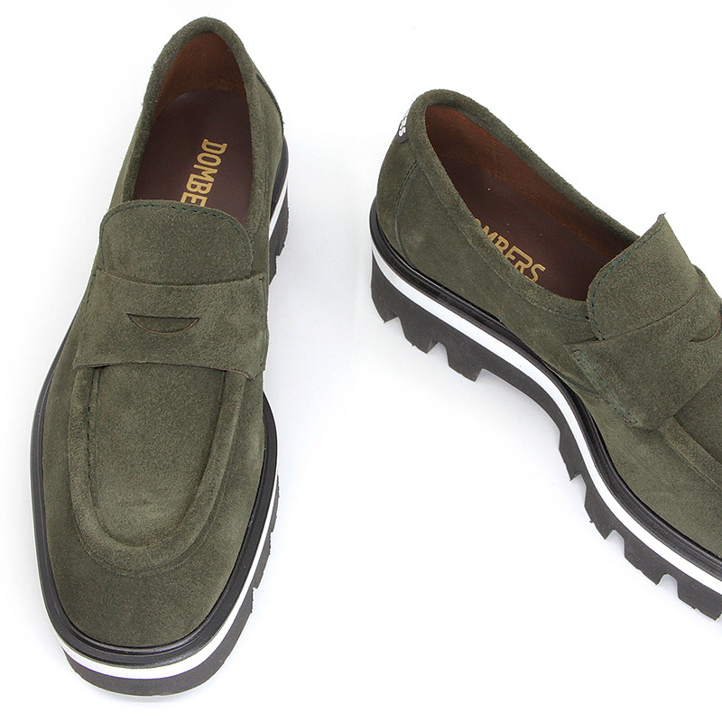 Women's green suede platform loafers - Imaginary
