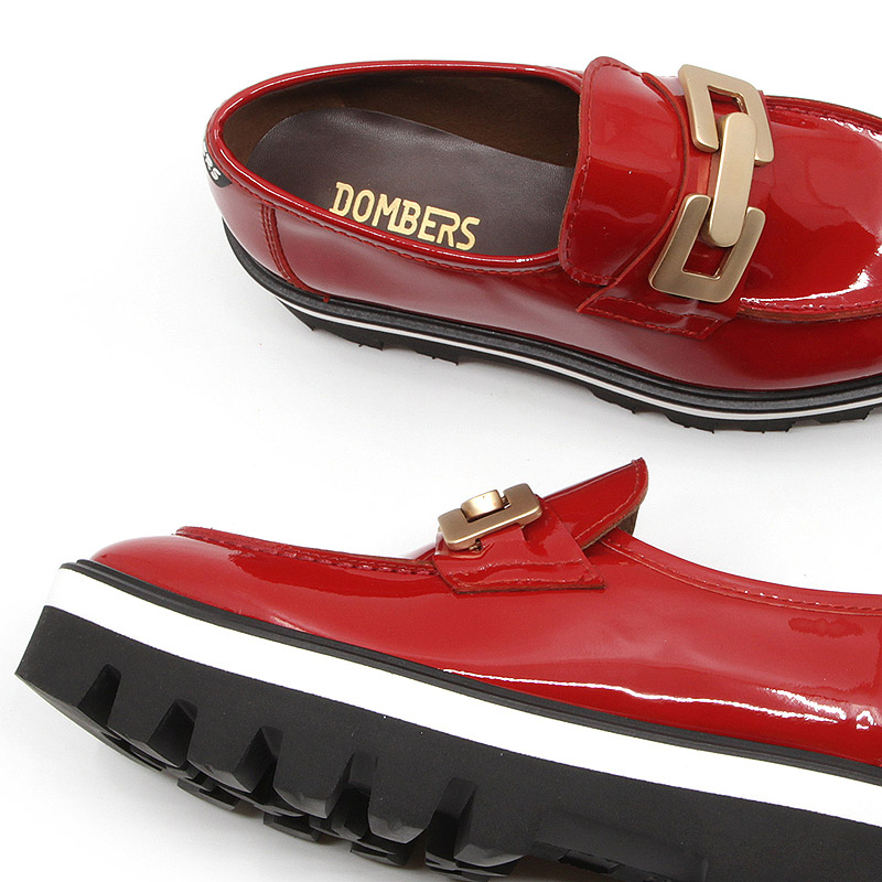 Red patent leather shoe with track platform for women - Reflect