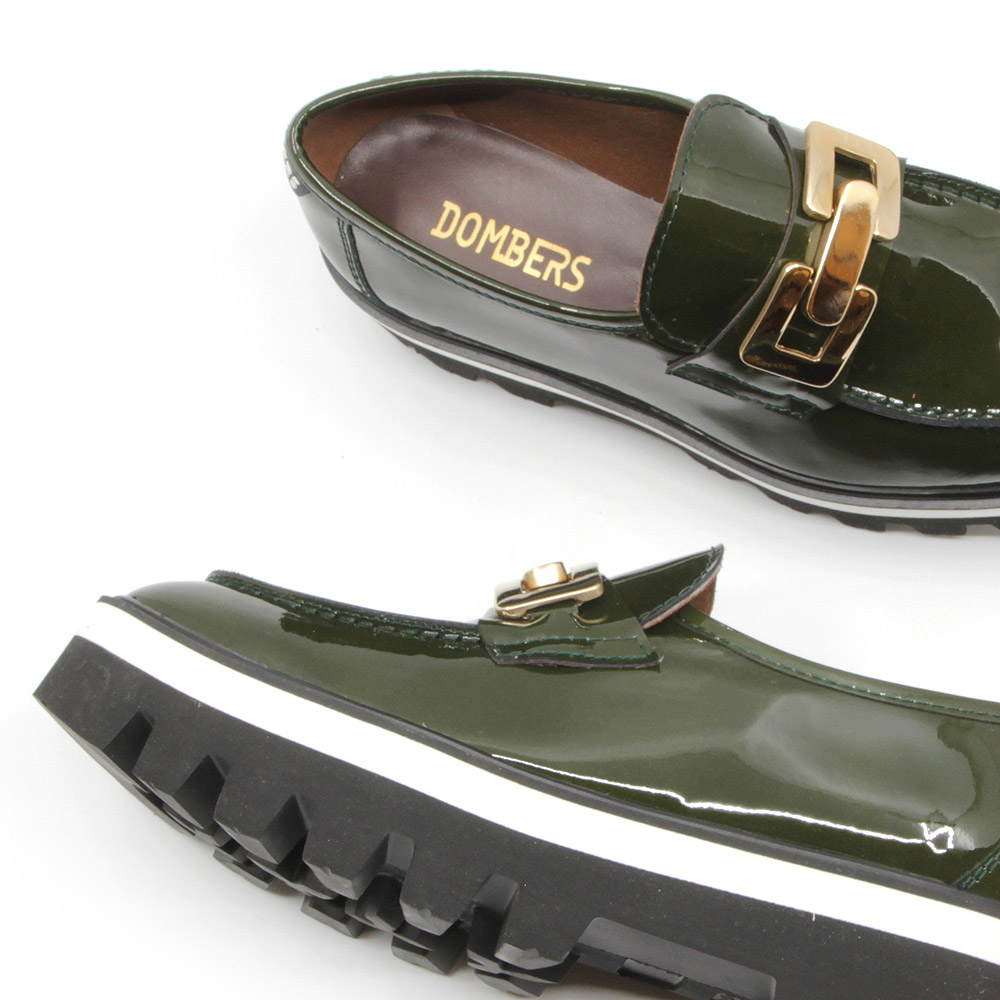 Green patent leather shoe with track platform for women - Reflect