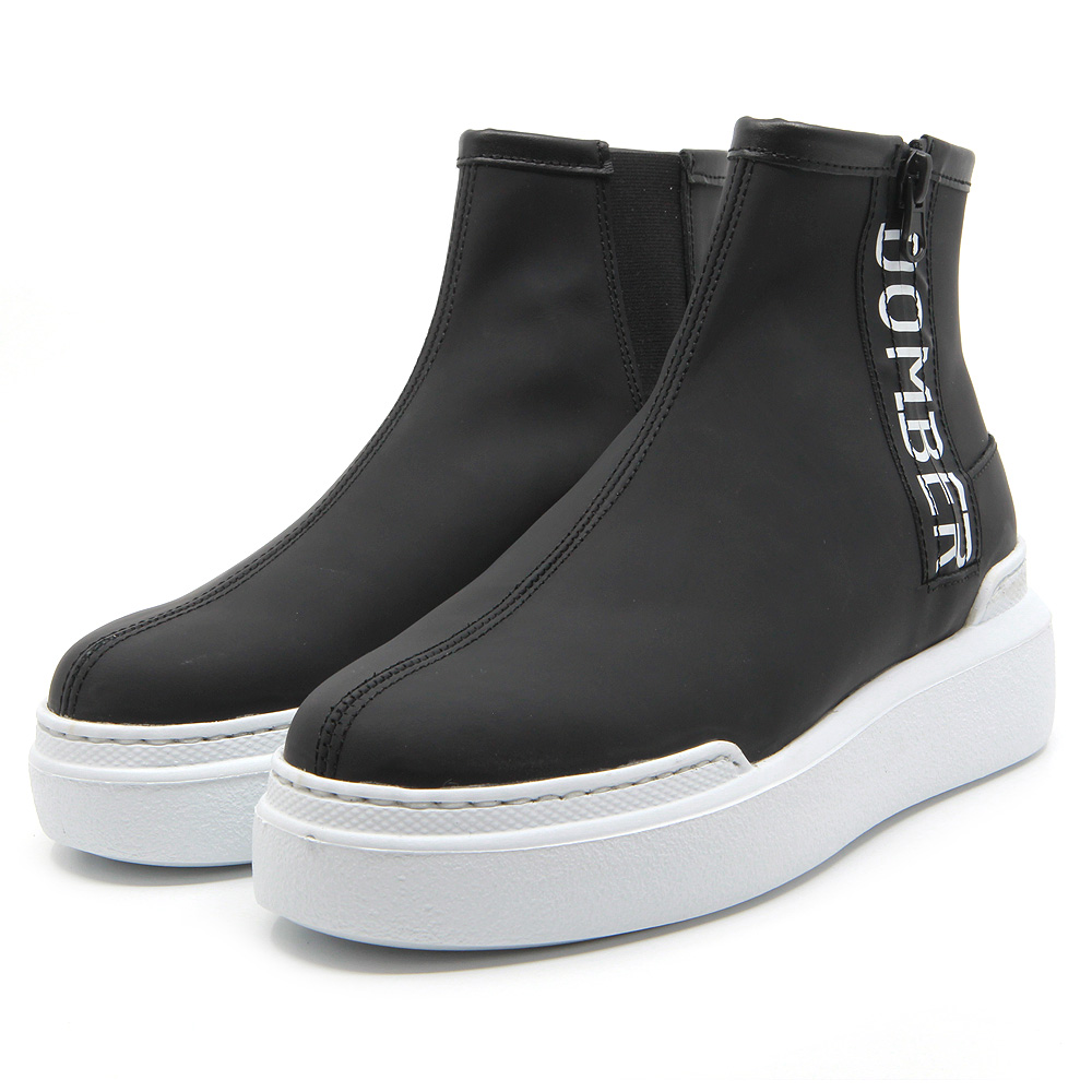 Urban black leather sport boots