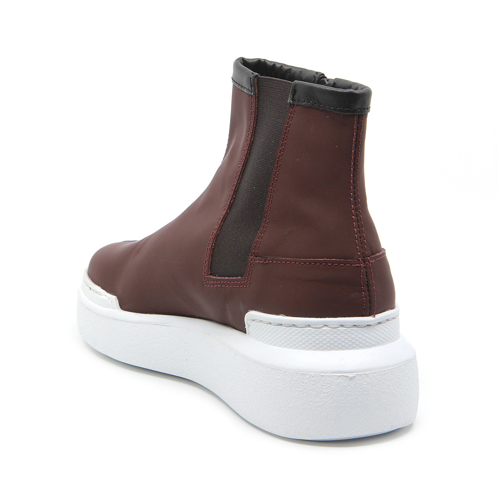Urban burgundy leather sport boots