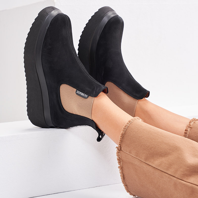 Black suede ankle boots for women - Discovery