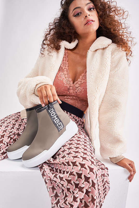 Urban taupe leather sport boots