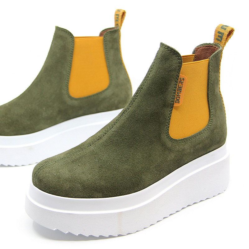 Army green suede ankle boots for women - Discovery
