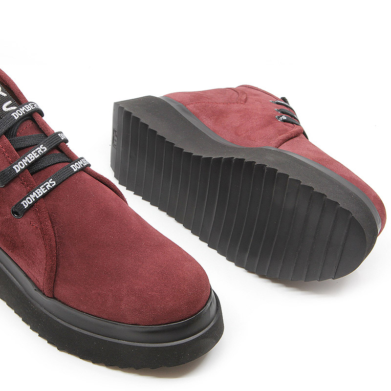 Burgundy suede ankle boots with platform for women - Futura