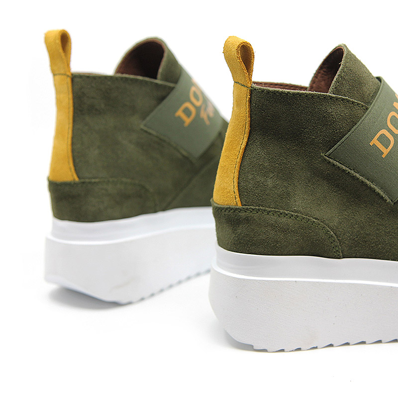 Green suede platform ankle boots for women - Gravity