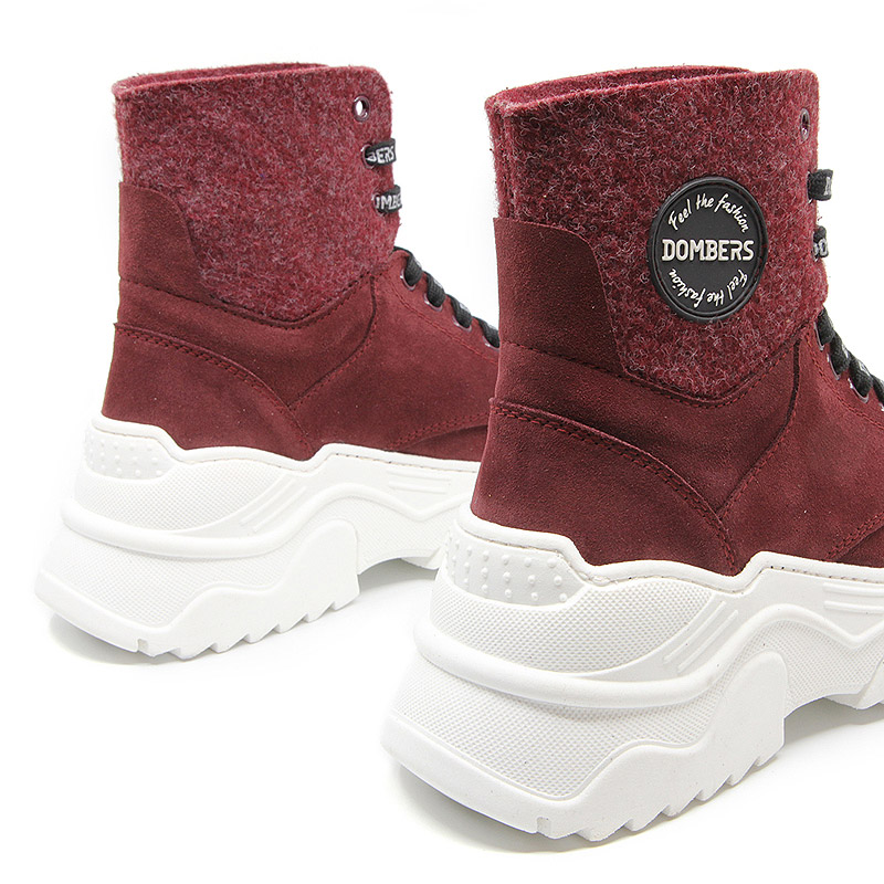 Sneakers booties with burgundy platform for women - Impulse