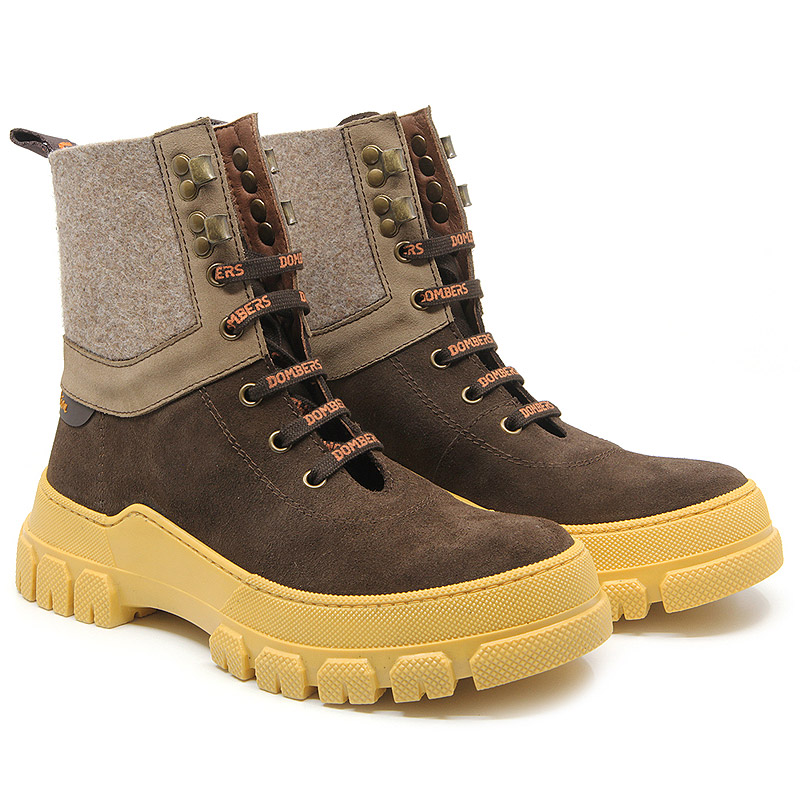 Brown boot with laces and track sole for women - Infinity