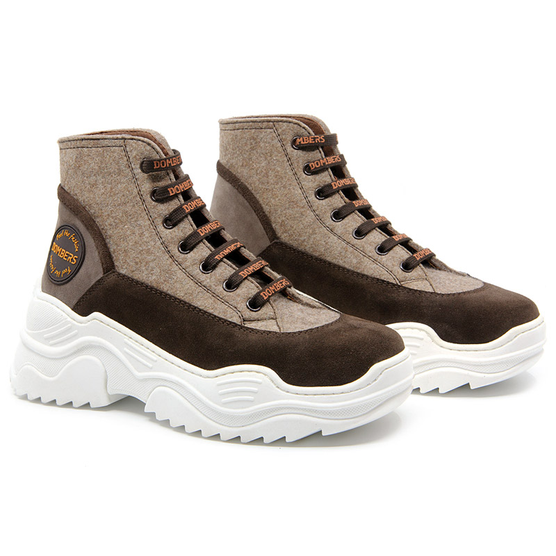 Brown suede platform high top for women - Universe