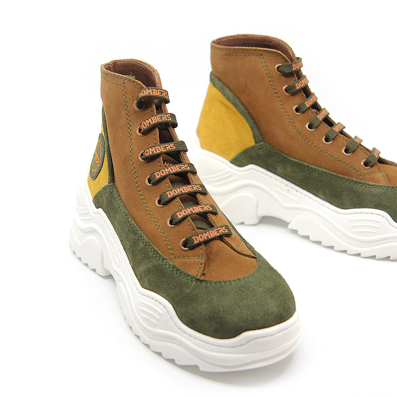 High-top sneaker with green suede platform for women - Universe