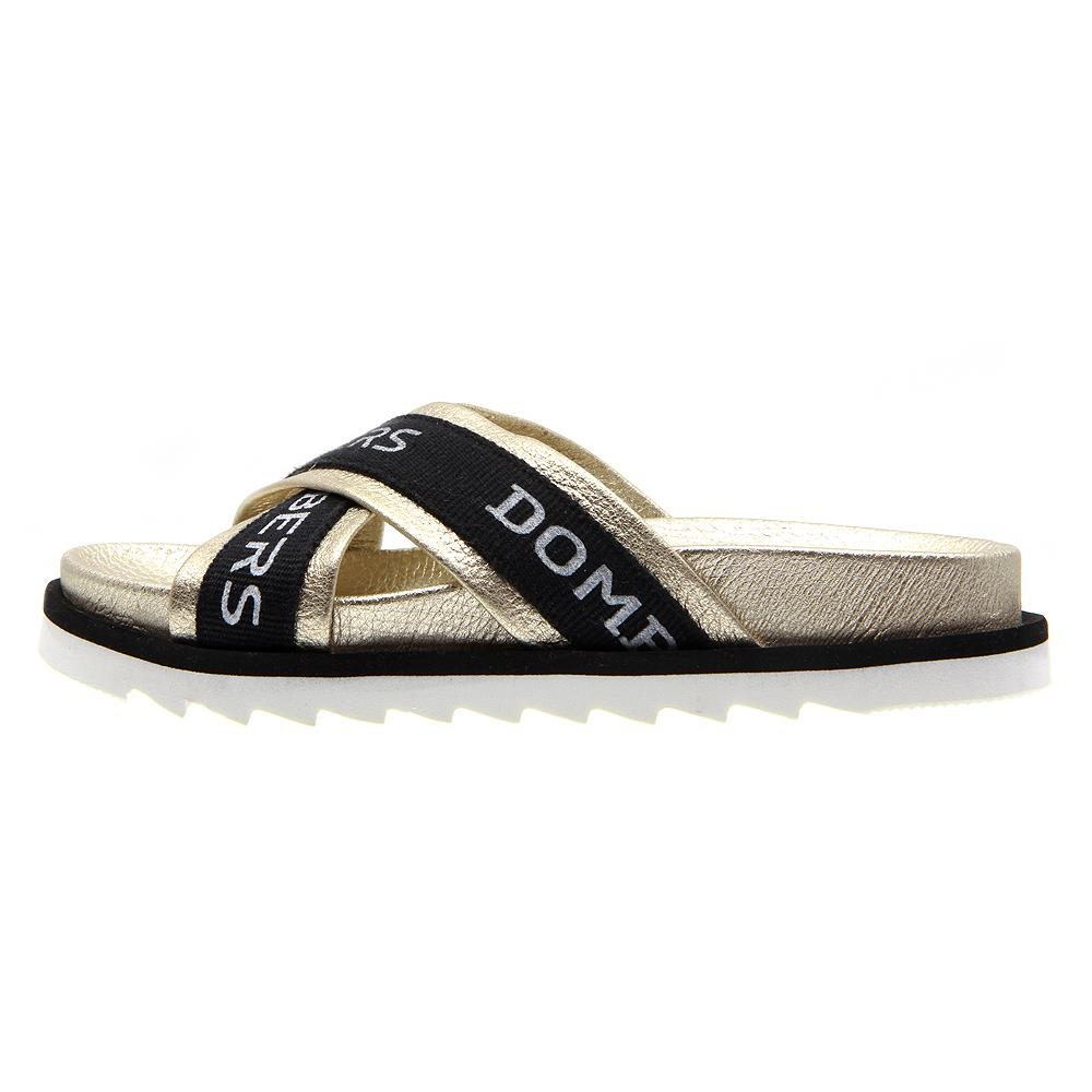 Touch sandals platinum color on micro bicolor black and white floor