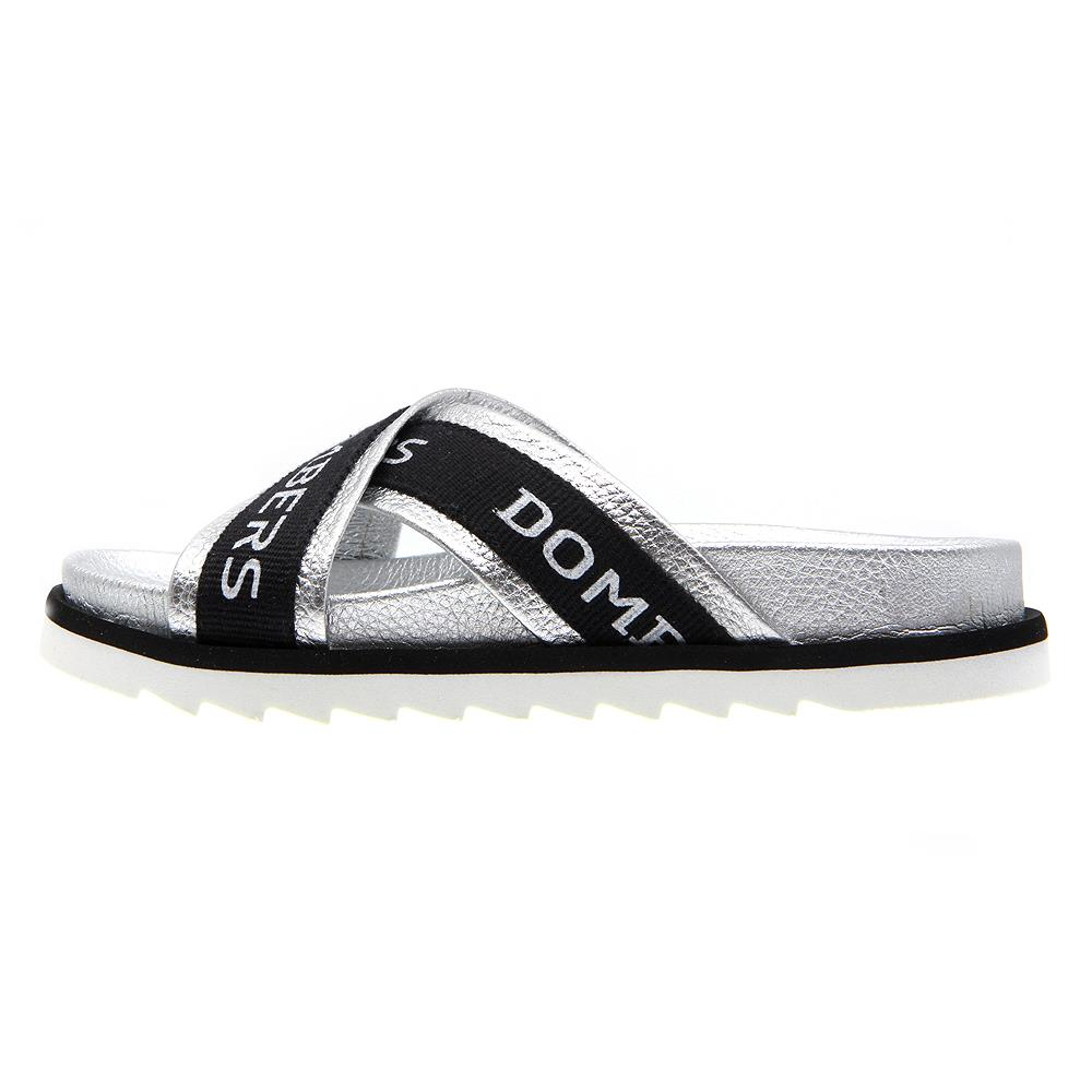 Touch sandals silver color on micro bicolor black and white floor