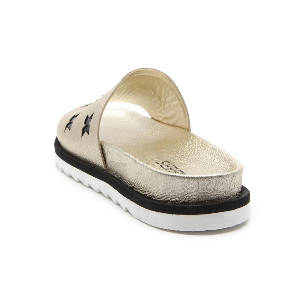 Innate golden sandals on black and white bicolour micro sole