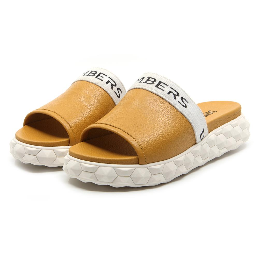 Reality buckle sandals in ocher on a white micro platform
