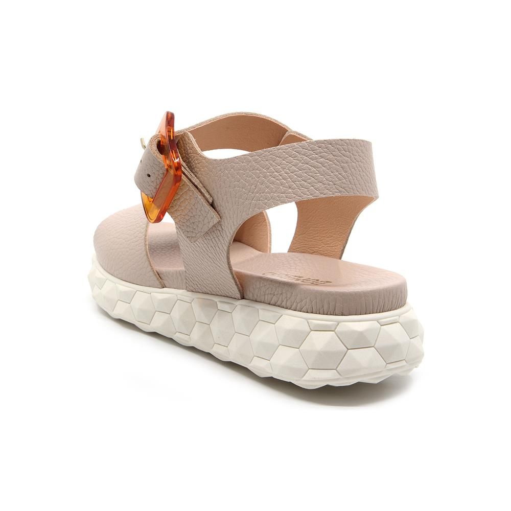 Surreal sandals buckle nude color on white micro platform