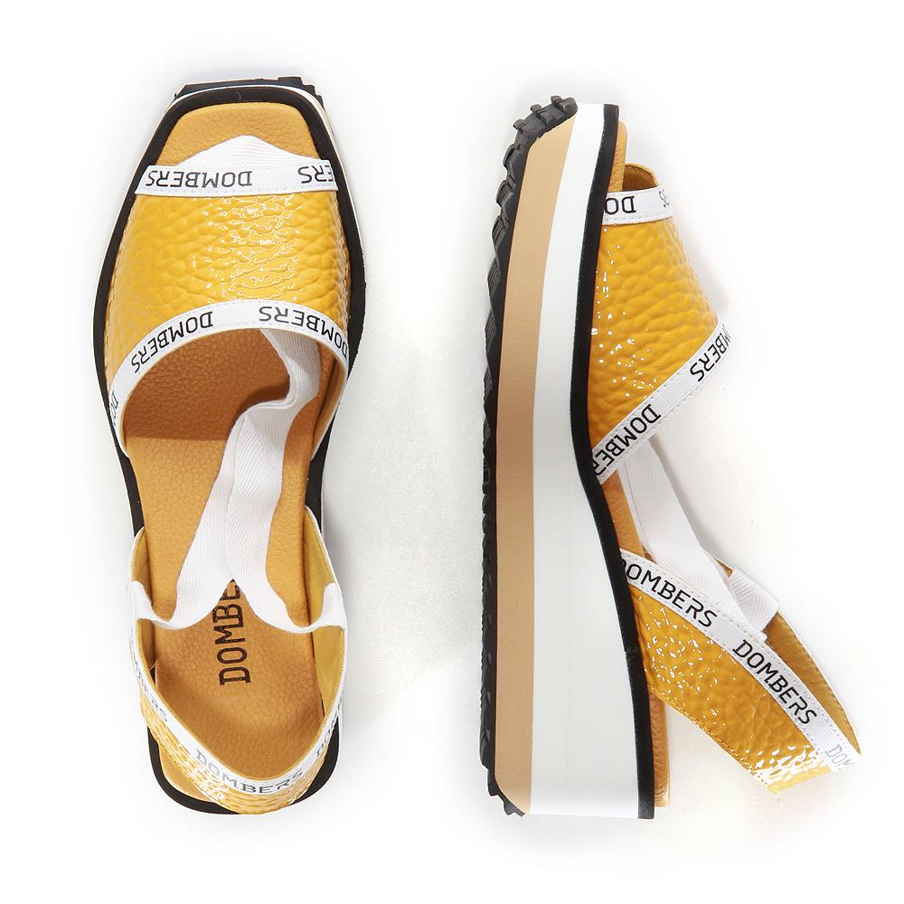 Runway sandals with mustard ribbon on white and beige micro bicolor platform