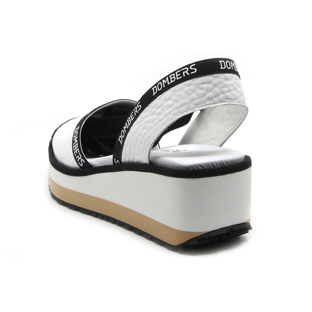 Runway sandals with white ribbon on white and beige bicolour micro platform