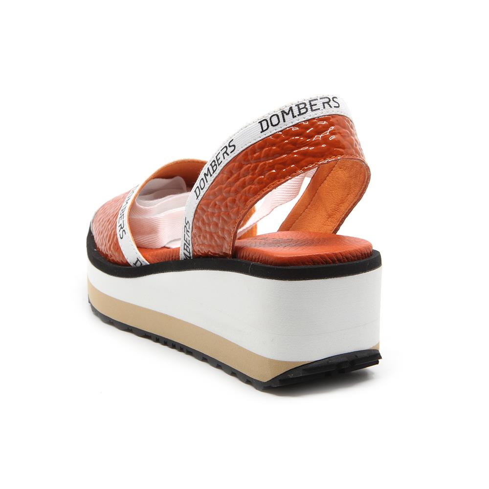 Runway sandals with orange ribbon on white and beige micro bicolor platform