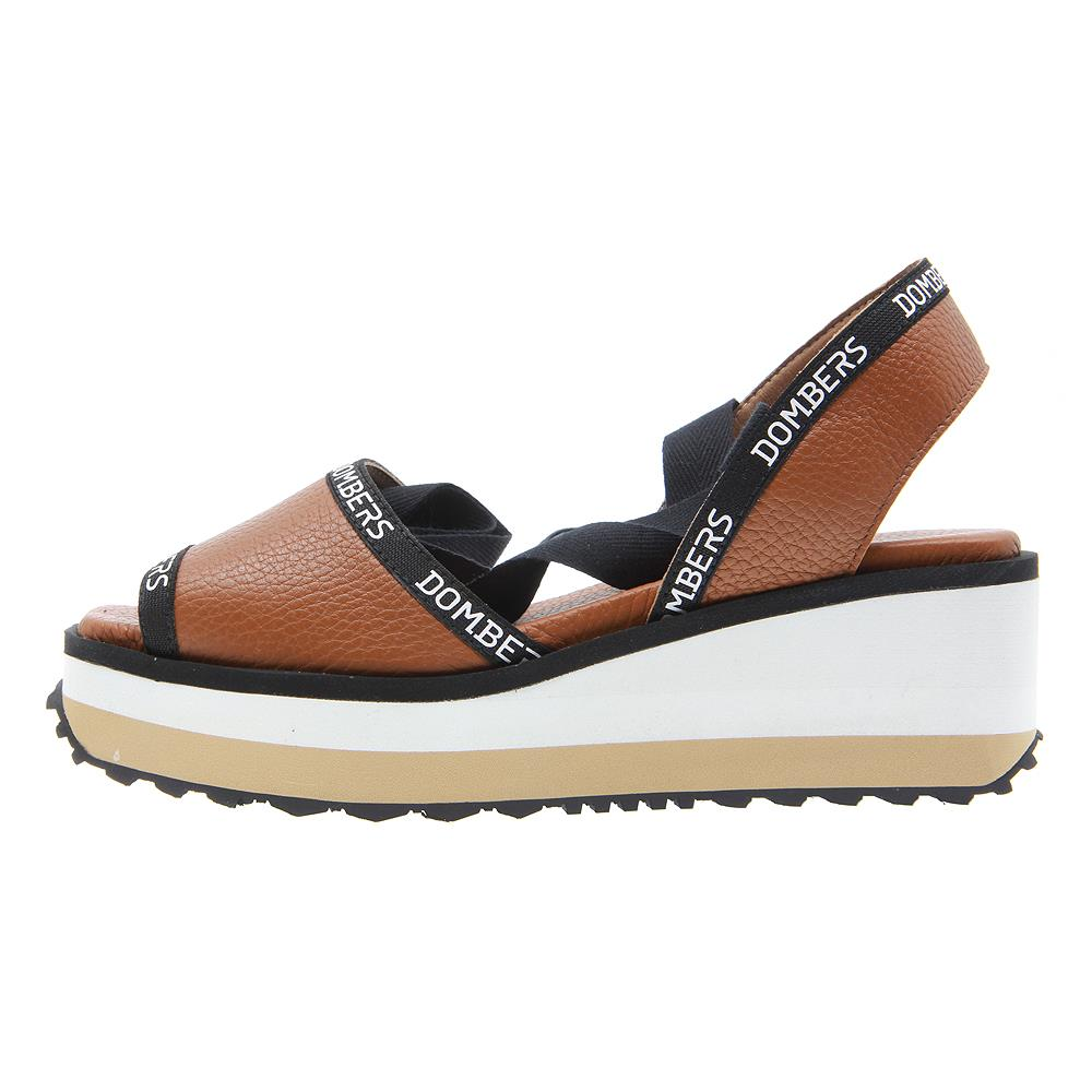 Runway sandals with brown ribbon on white and beige bicolour micro platform
