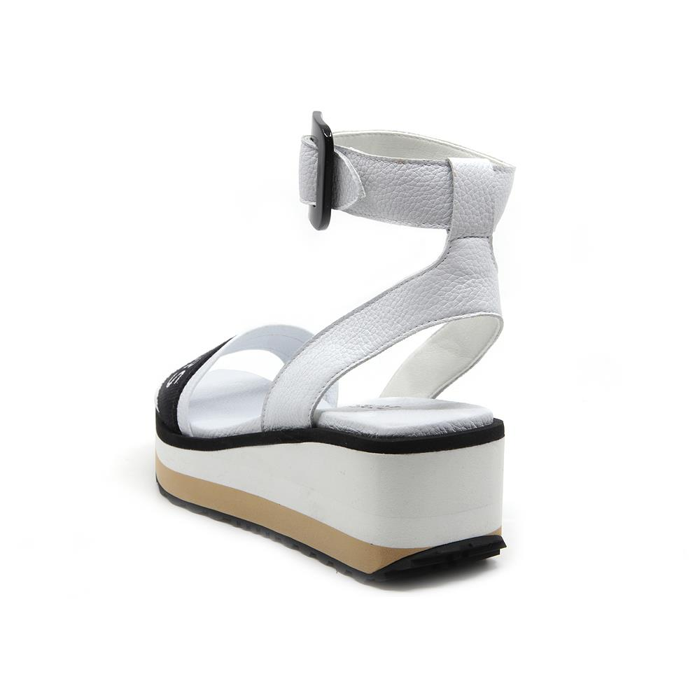 Matrix white sandals with buckle strap on white and beige micro bicolor platform