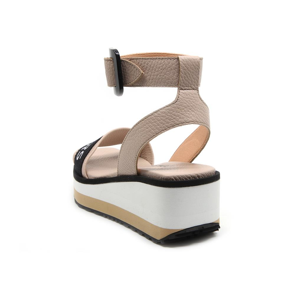 Matrix nude sandals with buckle strap on white and beige micro bicolor platform