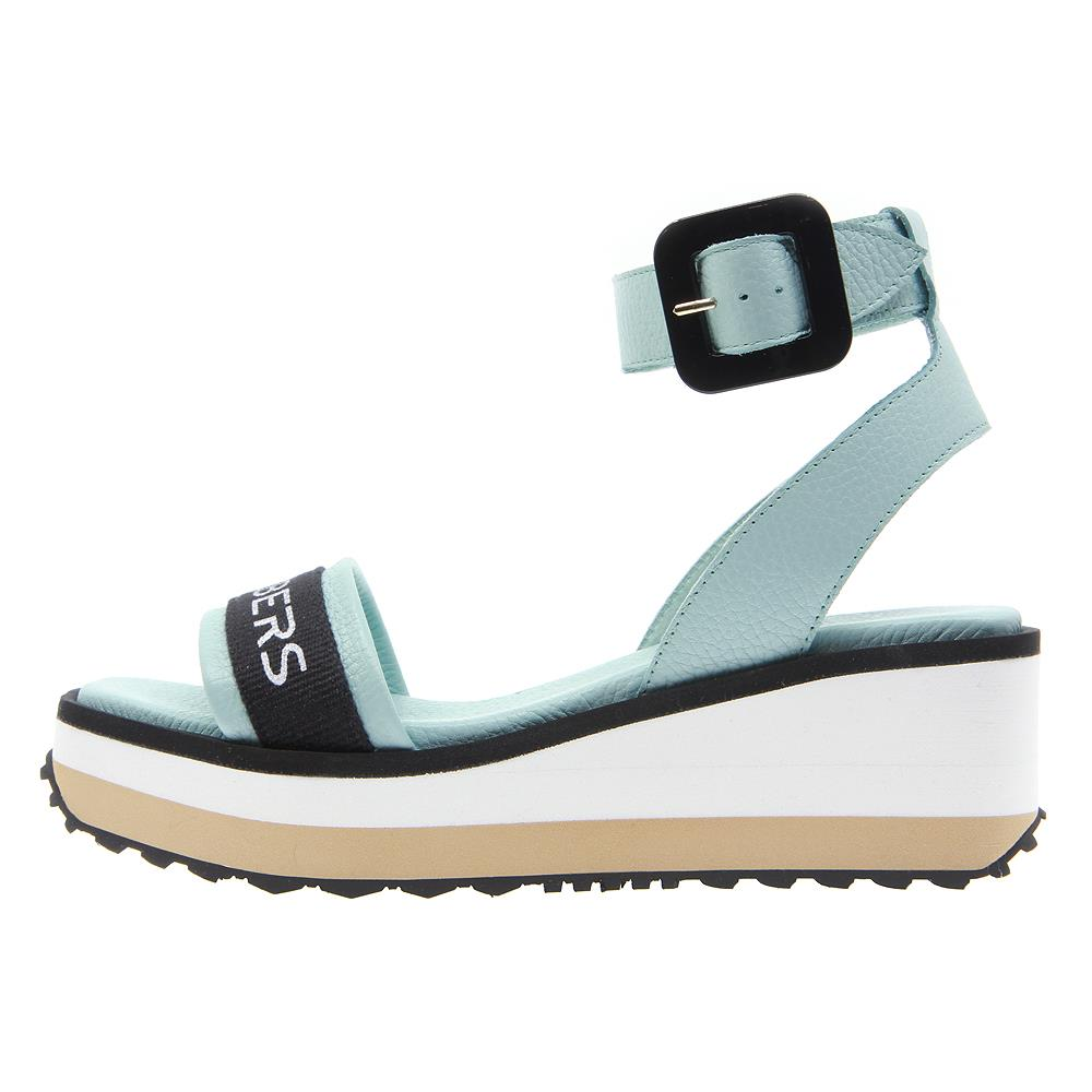 97/5000 Matrix sandals in green water color with buckle strap on micro bicolor white and beige platform