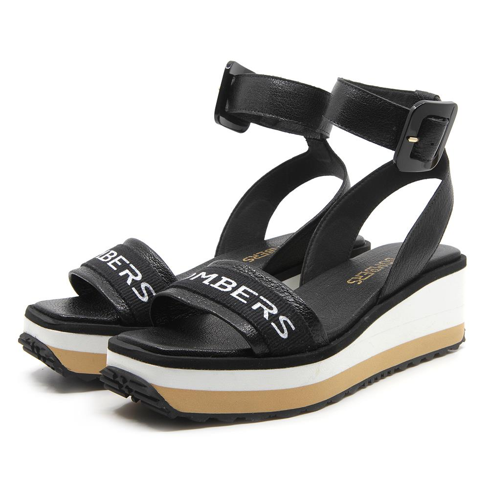 Matrix sandals in black with buckle strap on micro bicolor white and beige platform