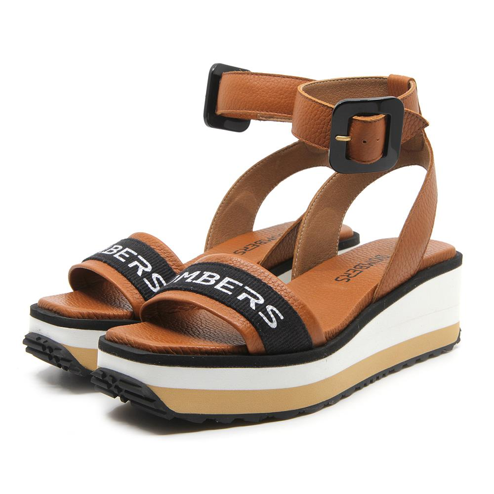 Matrix brown sandals with buckle strap on micro bicolor white and beige platform