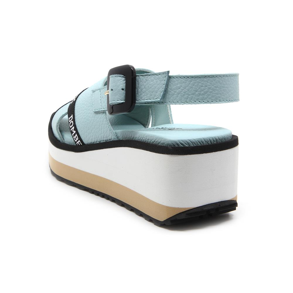 90/5000 Pearl green water color sandals with buckle on white and beige bicolour micro platform