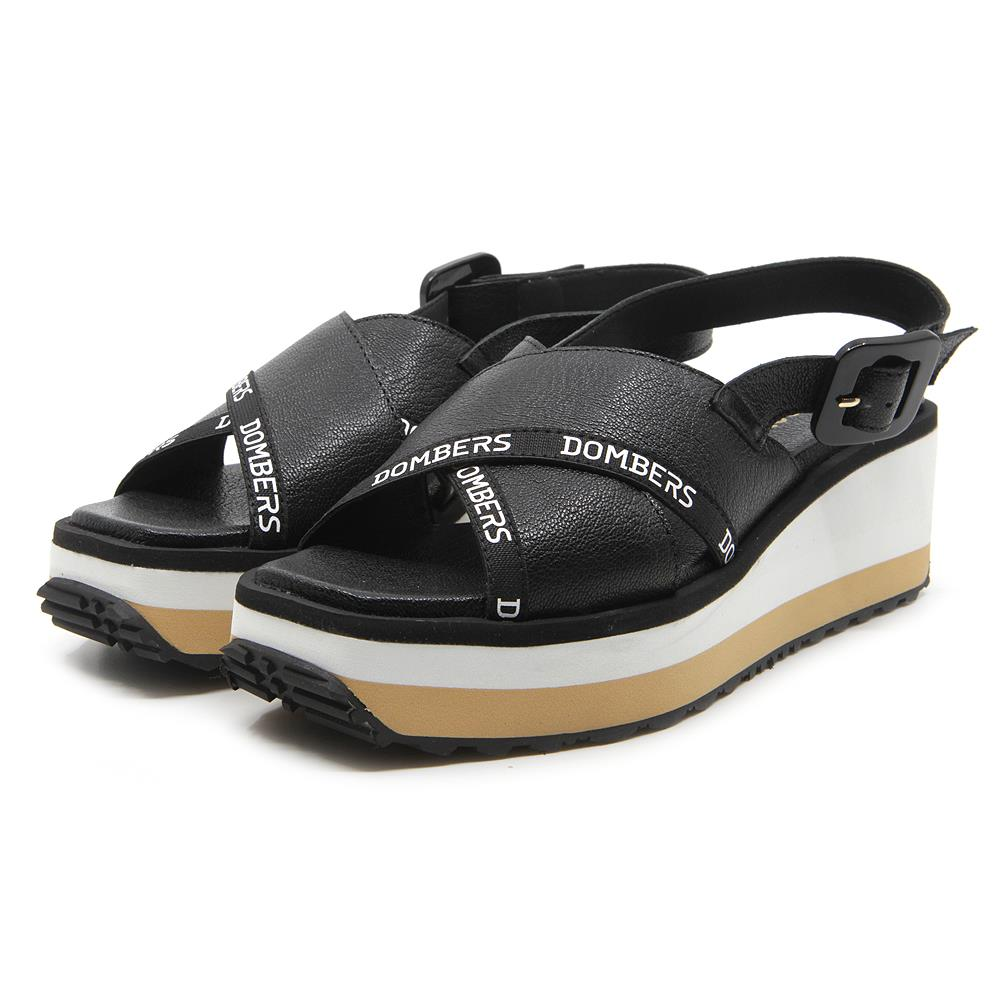 Pearl black sandals with buckle on white and beige bicolour micro platform
