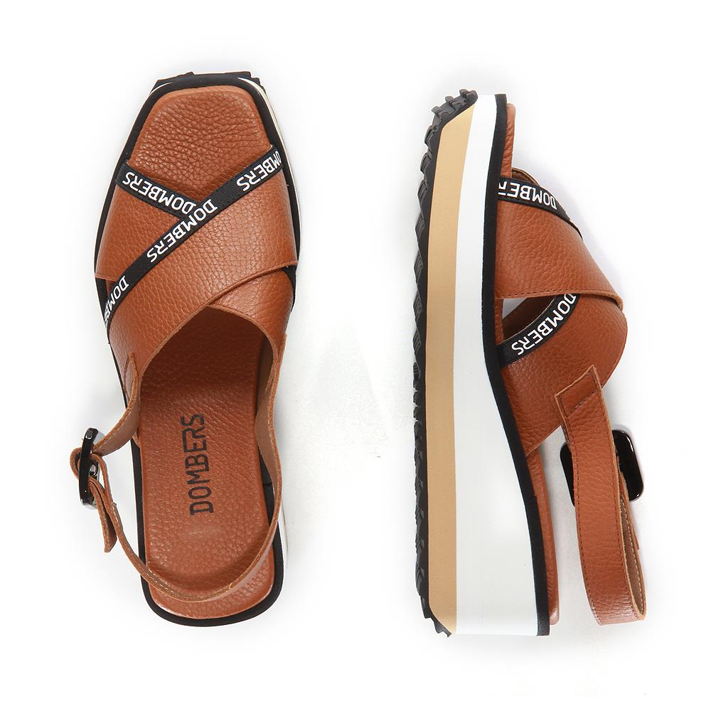 Pearl brown sandals with buckle on white and beige bicolour micro platform