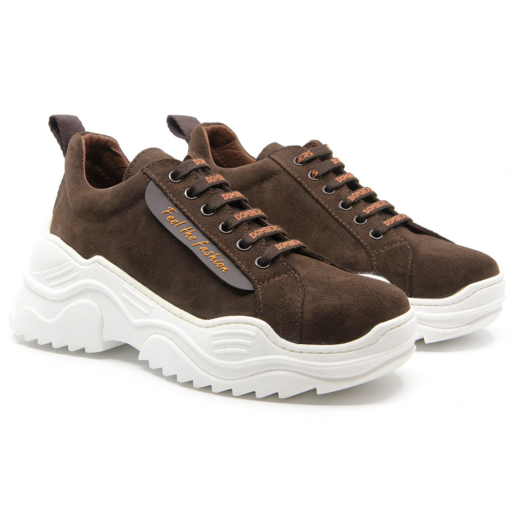 Brown suede platform sneakers for women - Energy