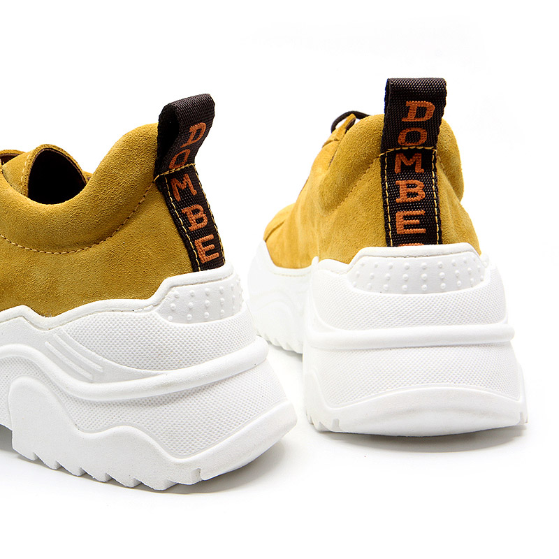 Women's platform sneakers in mustard suede - Energy